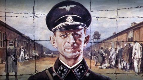 Porträt Eichmanns vor einem KZ-Zaun - Farb-Zeichnung von Walter Molino