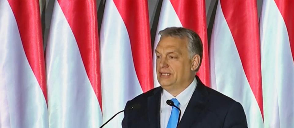 """Ministerpräsident Orban bei einer Wahlkampfveranstaltung in Budapest: """"Verteidiger des christlichen Europas""""."""