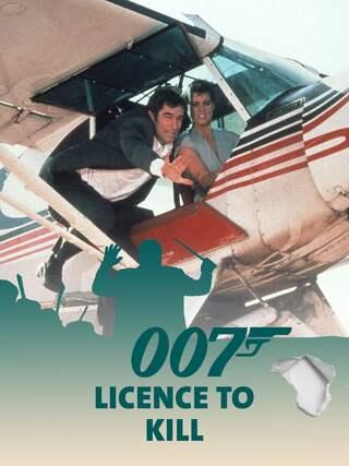 Timothy Dalton alias James Bond 007 im Flugzeug mit seiner Filmpartnerin - Teaserplakat zur Aufnahme der Filmmusik mit dem WDR Funkhausorchester
