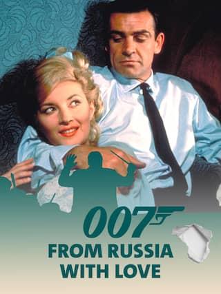 Sean Connery alias James Bond 007 umarmt seine Filmpartnerin - Teaserplakat zur Aufnahme der Filmmusik mit dem WDR Funkhausorchester
