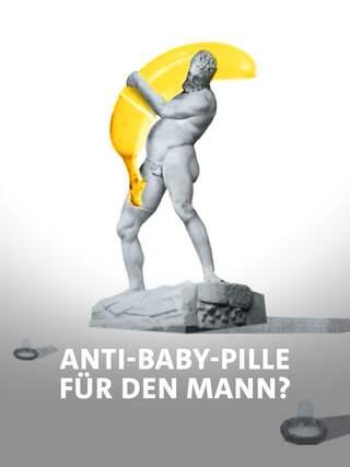 Fotocollage: Eine antik aussehende Statues eines Mannes trägt eine riesige Banane, über die zum Teil ein Kondom gezogen ist