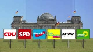 Sechs Schilder mit Parteienlogos stehen vor dem Reichstag.
