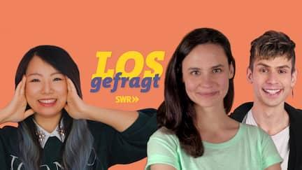 """Die Hosts Kiko, Leonie und Kostas von """"Losgefragt"""""""