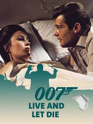 Roger Moore alias James Bond 007 im Bett mit seinem Bond-Girl - Teaserplakat zur Aufnahme der Filmmusik mit dem Münchner Rundfunkorchester