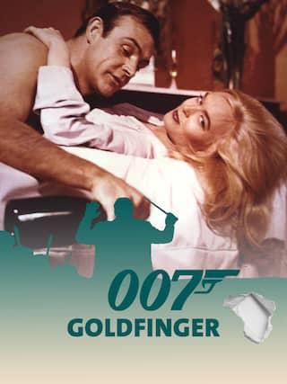 Sean Connery alias James Bond 007 umarmt seine Filmpartnerin Shirley Eaton - Teaserplakat zur Aufnahme der Filmmusik mit dem WDR Funkhausorchester