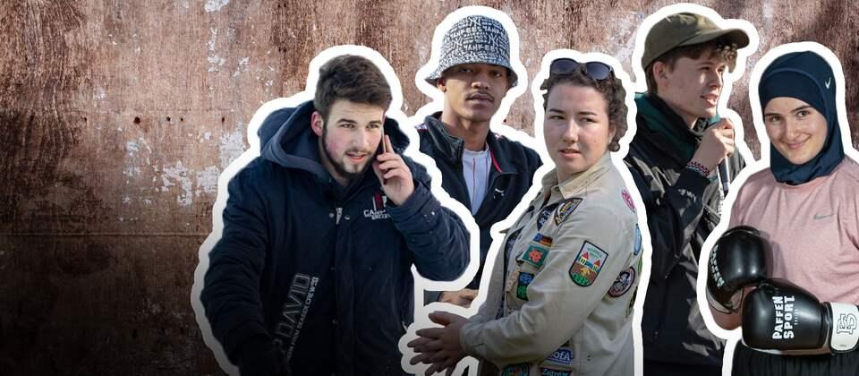 Fünf junge Menschen aus unterschiedlichen Regionen Deutschlands