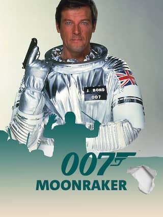 Roger Moore alias James Bond 007 als Astronaut mit Pistole - Teaserplakat zur Aufnahme der Filmmusik mit dem Münchner Rundfunkorchester