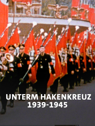Parade mit vielen Hakenkreuz-Flaggen