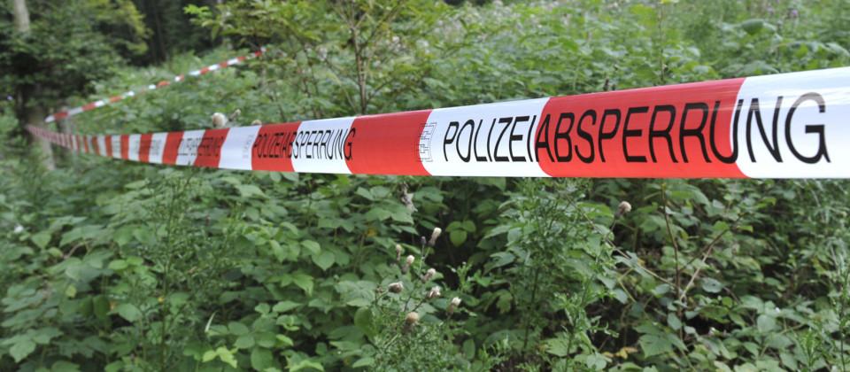 Ein Absperrband der Polizei hängt in einem Waldstück.