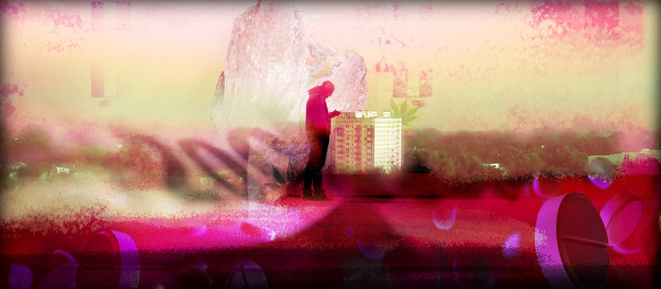 Auf einem stilisierten Bild steht ein Mann vor einem Hochhaus. Schemenhaft sind Drogen zu erkennen.