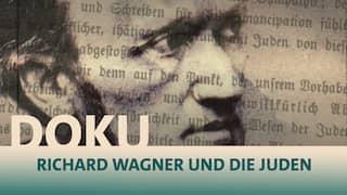 Bildcollage als dem Kopf von Richard Wagner und transparenten Schriften über Juden