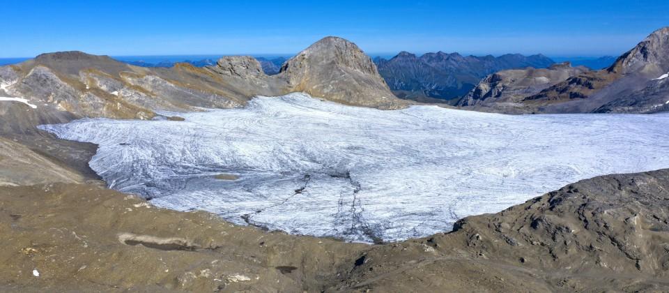 Plateaugletscher Plaine Morte am Fuss des Gipfels Gletscherhore, Berner Alpen, Schweiz, Crans-Montana