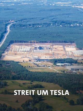 Blick auf die Tesla-Fabrik, Bild: Imago images