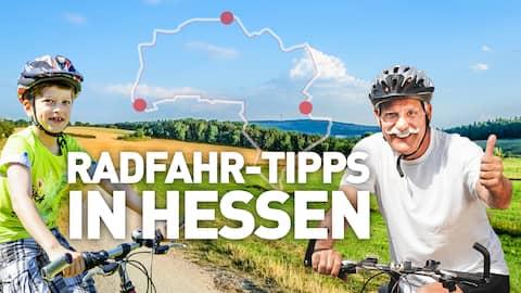 Collage: Zwei lachende Radfahrer auf einem Radweg; im Hintergrund eine Fahrradroute; Text: Radfahr-Tipps in Hessen.