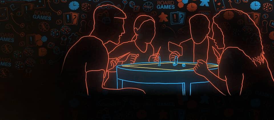 Eine Gruppe Menschen sitzt um einen Tisch und spielt, das Ganze in einem Neonreklamen-Look.