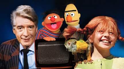 Collage aus alten Röhrenfernsehern, Rudi Carell, Pippi Langstrumpf und Ernie und Bert aus der Sesamstraße
