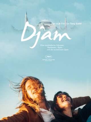 """Plakat zum Spielfilm """"Djam"""" - zwei Frauen mit ausgebreiteten Armen vor blauem Himmel"""