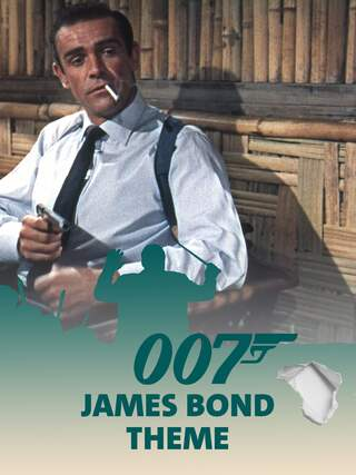 Sean Connery alias James Bond 007 mit Zigarette im Mund - Teaserplakat zur Aufnahme der Filmmusik mit dem Münchner Rundfunkorchester