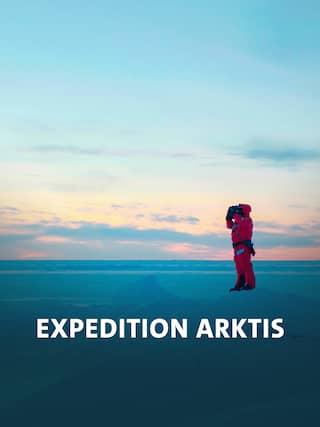 Ein Mann steht alleine in der Arktis