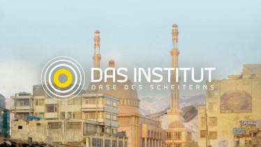 """Das Logo der Sendung """"Das Institut"""" vor einer zentralasiatisch anmutenden Stadt."""
