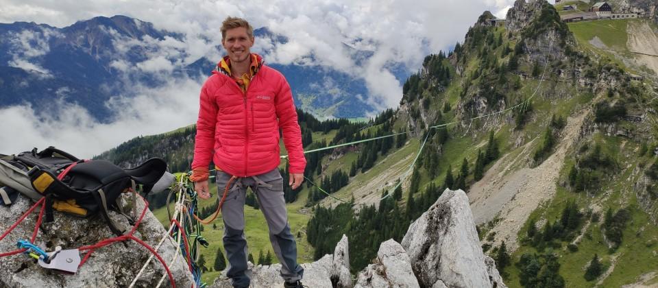 Extremsportler Lukas Irmler vor der längsten Highline Deutschlands.