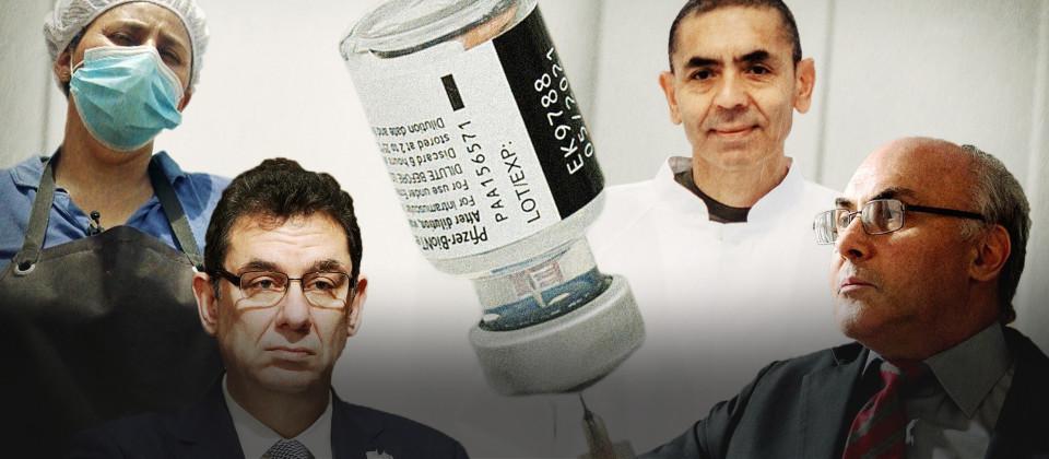 Collage: Eine Ampulle mit Impfstoff zwischen vier Menschen.