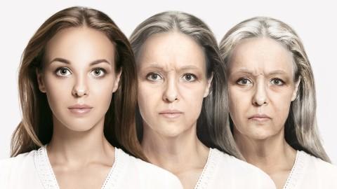 Gesicht in drei Alterstufen