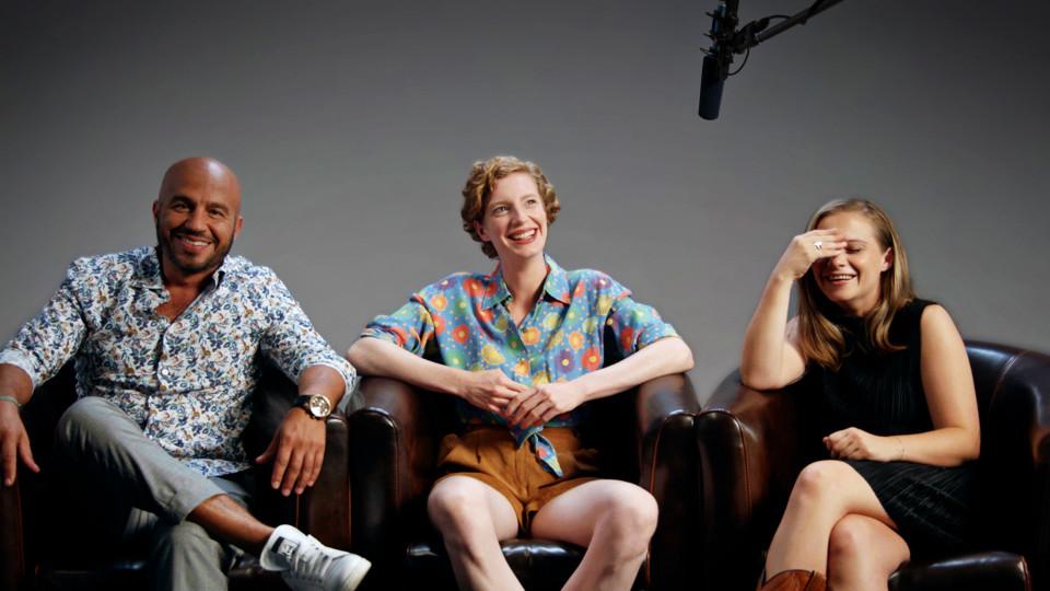 """Dar Salim, Luise Wolfram und Jasna Fritzi Bauer, das Team der Mockumentary """"How to Tatort""""."""