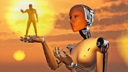Roboter und Mensch