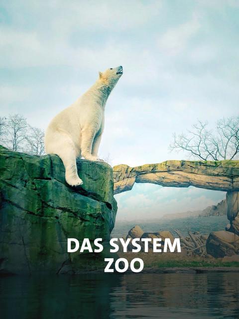 Eisbär im Zoo mit gemaltem Hintergrund