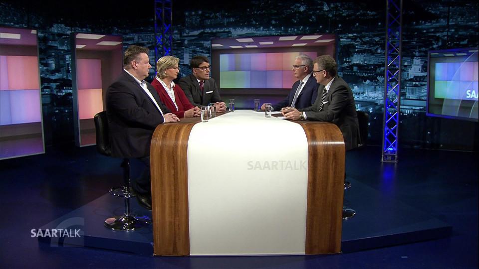 Norbert Klein und Peter Stefan Herbst mit Tim Hartmann, Stephan Ahr und Anke Rehlinger