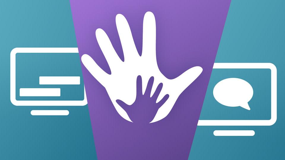 Ein in drei Flächen geteiltes Bild in denen jeweis ein Symbol für Untertitel, Gebärdensprache und Audiodeskription auf farbigem Grund enthalten ist